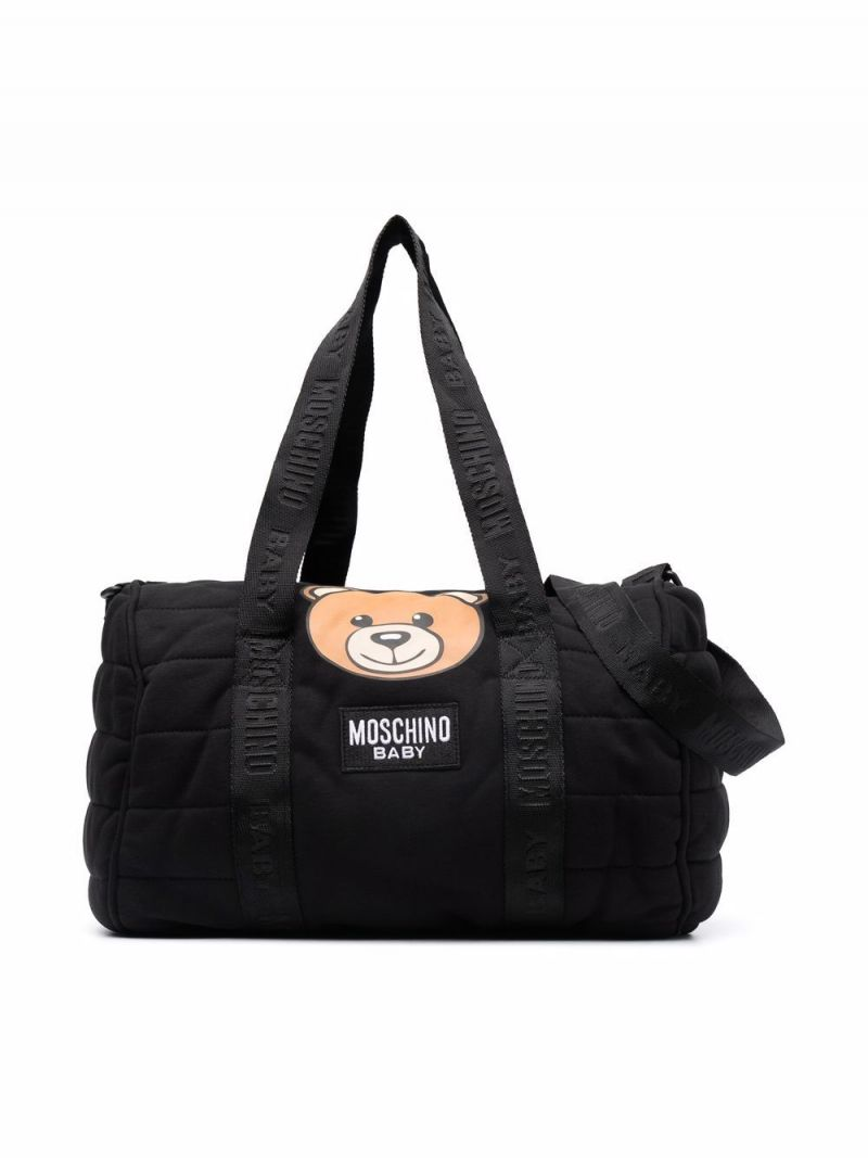 MOSCHINO KIDS: Teddy Bear technical cotton changing bag Color Black_1