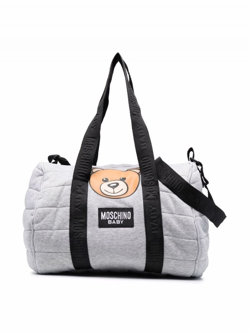 MOSCHINO KIDS: Teddy Bear technical cotton changing bag Color Grey_1