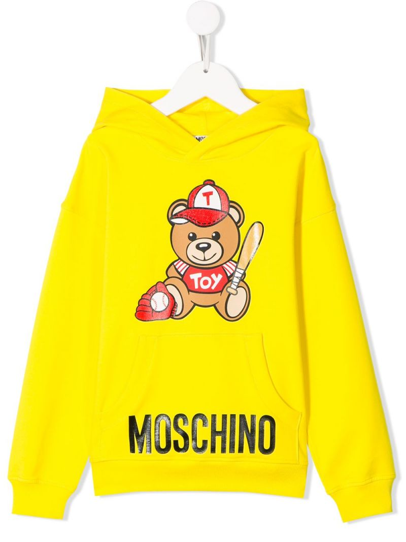 MOSCHINO KIDS: Baseball Teddy Bear cotton blend hoodie Color Yellow_1