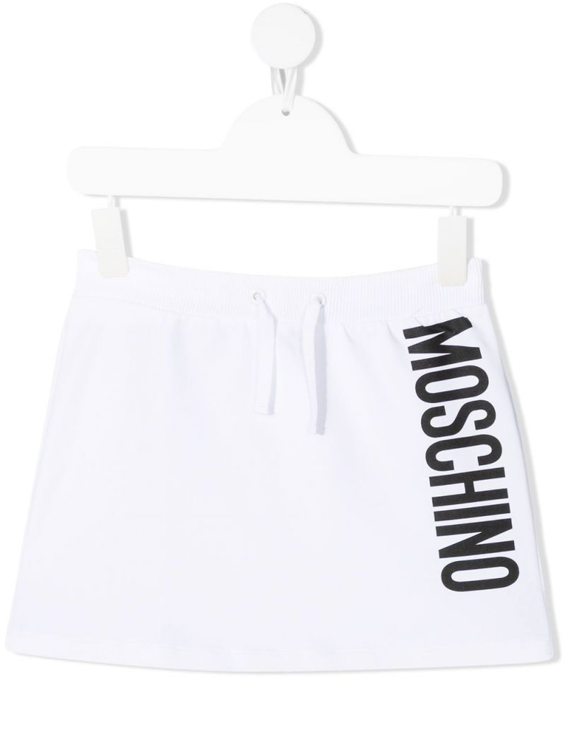 MOSCHINO KIDS: Moschino print stretch cotton skirt Color White_1