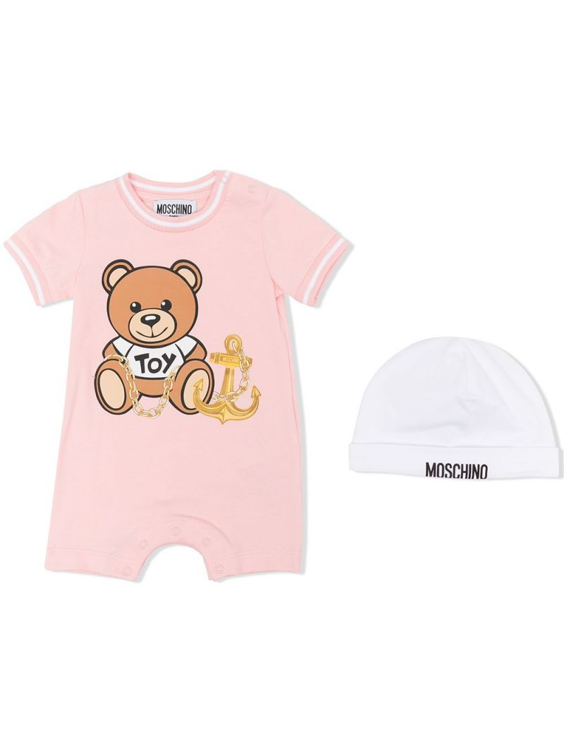 MOSCHINO KIDS: stretch cotton romper and beanie Color White_1