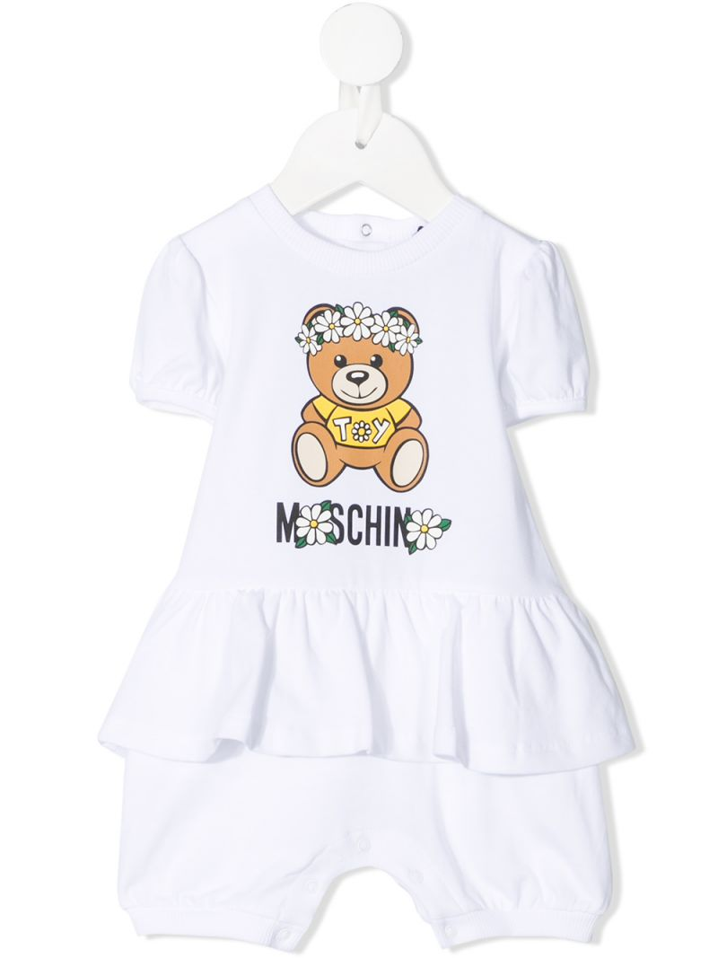 MOSCHINO KIDS: Daisy Teddy Bear stretch cotton t-shirt and shorts Color White_1