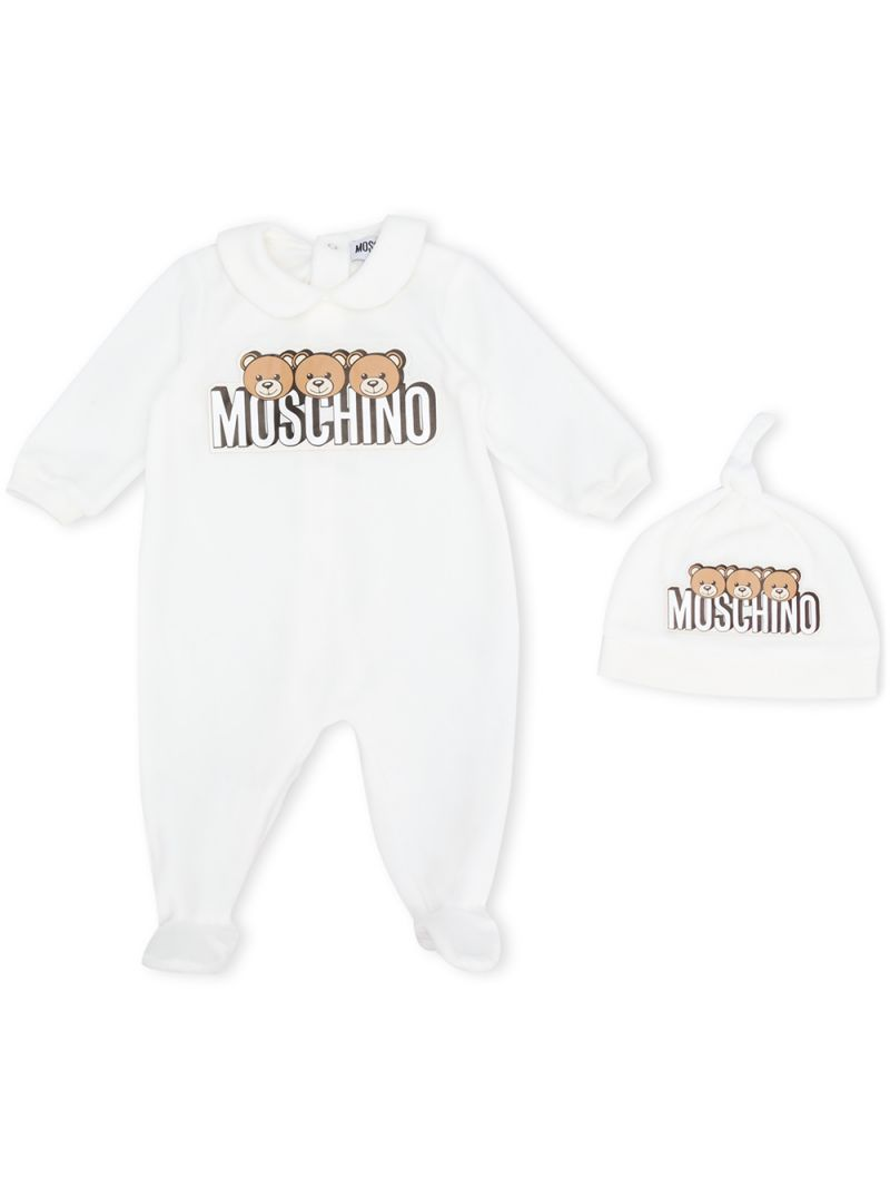 MOSCHINO KIDS: chenille playsuit and beanie set Color Grey_1