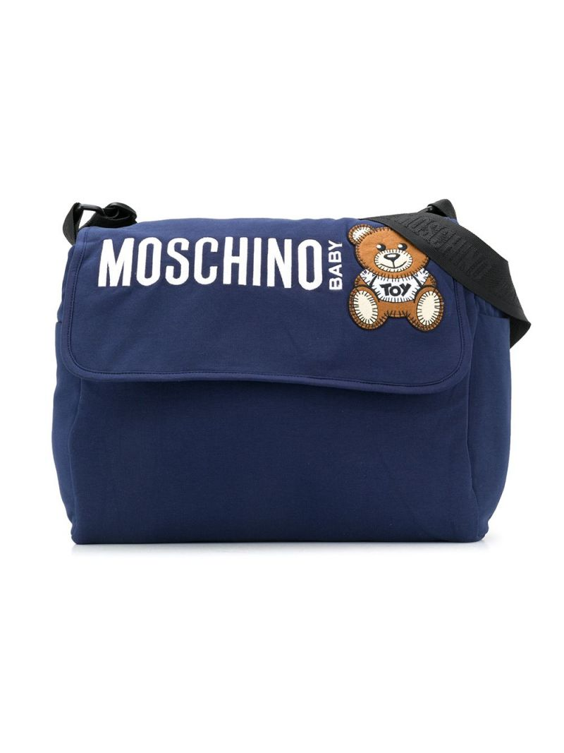 MOSCHINO KIDS: logo embroidered jersey changing bag Color Blue_1