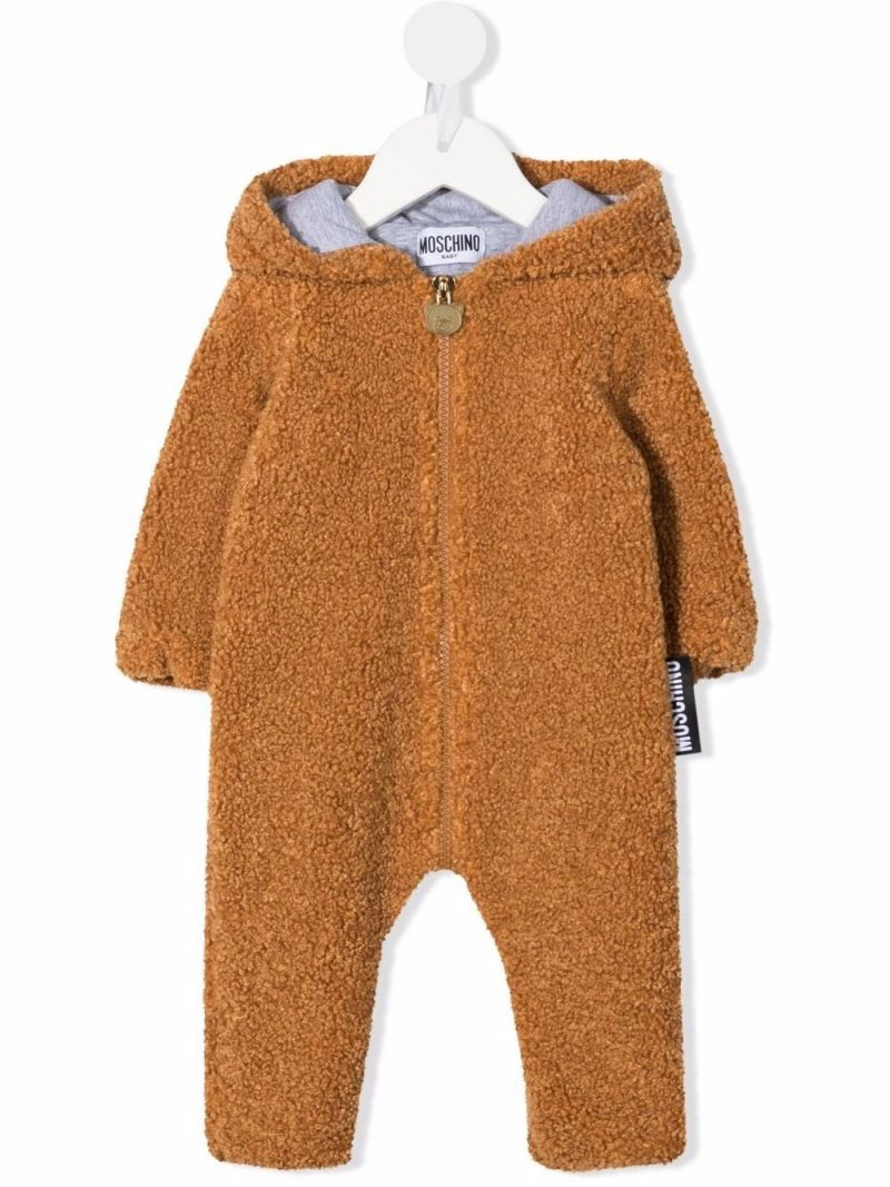 MOSCHINO KIDS: Teddy Bear hooded faux fur babygrow Color Brown_1