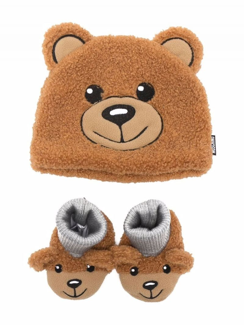 MOSCHINO KIDS: Teddy Bear beanie and slipper set in faux fur Color Brown_1