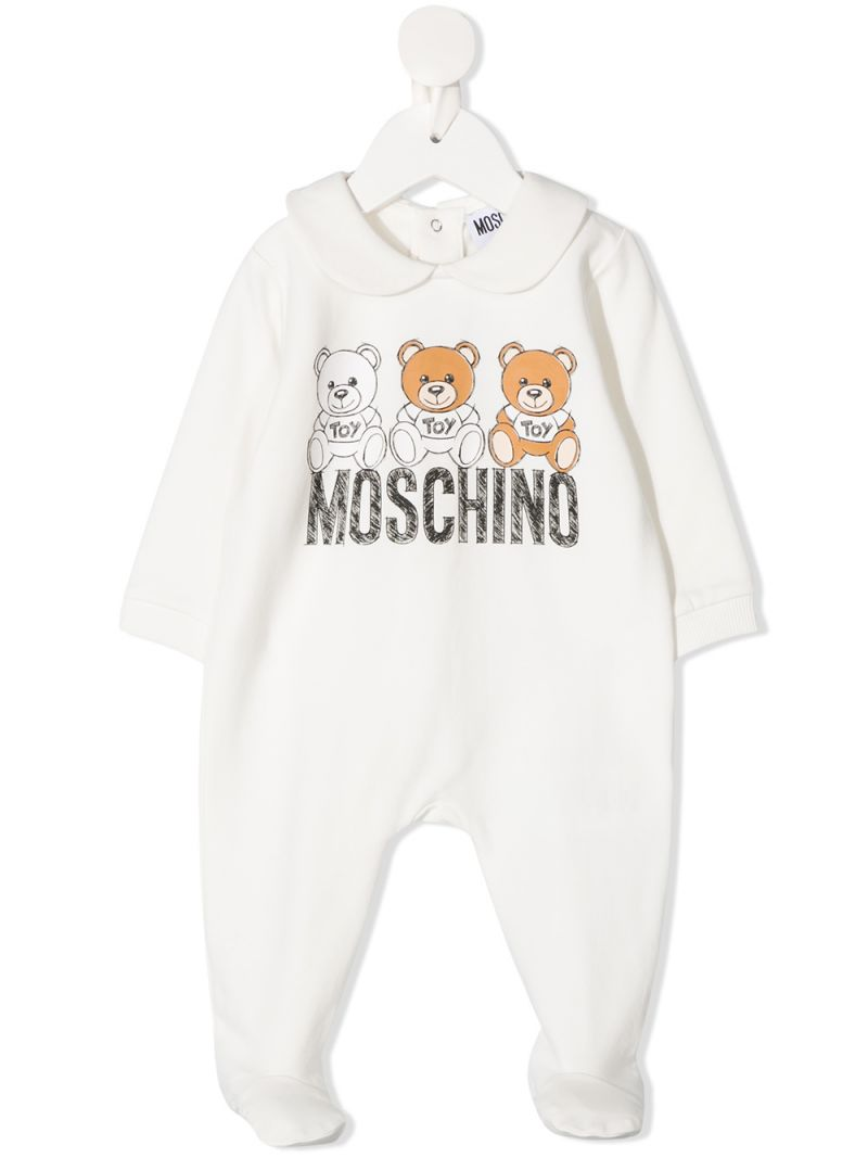 MOSCHINO KIDS: Moschino Teddy Bear print stretch cotton playsuit Color Grey_1