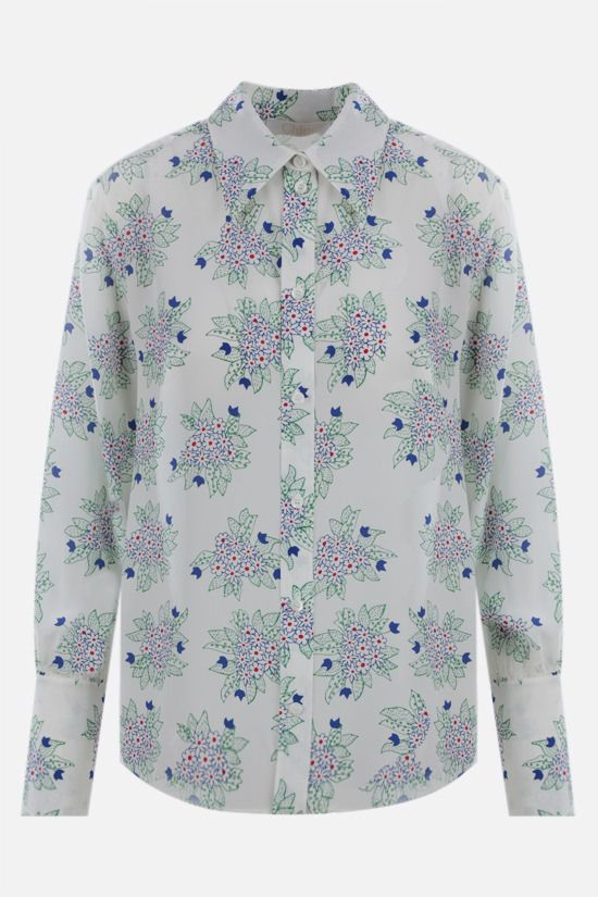 CHLOÈ: floral print crepe de chine shirt Color White_1