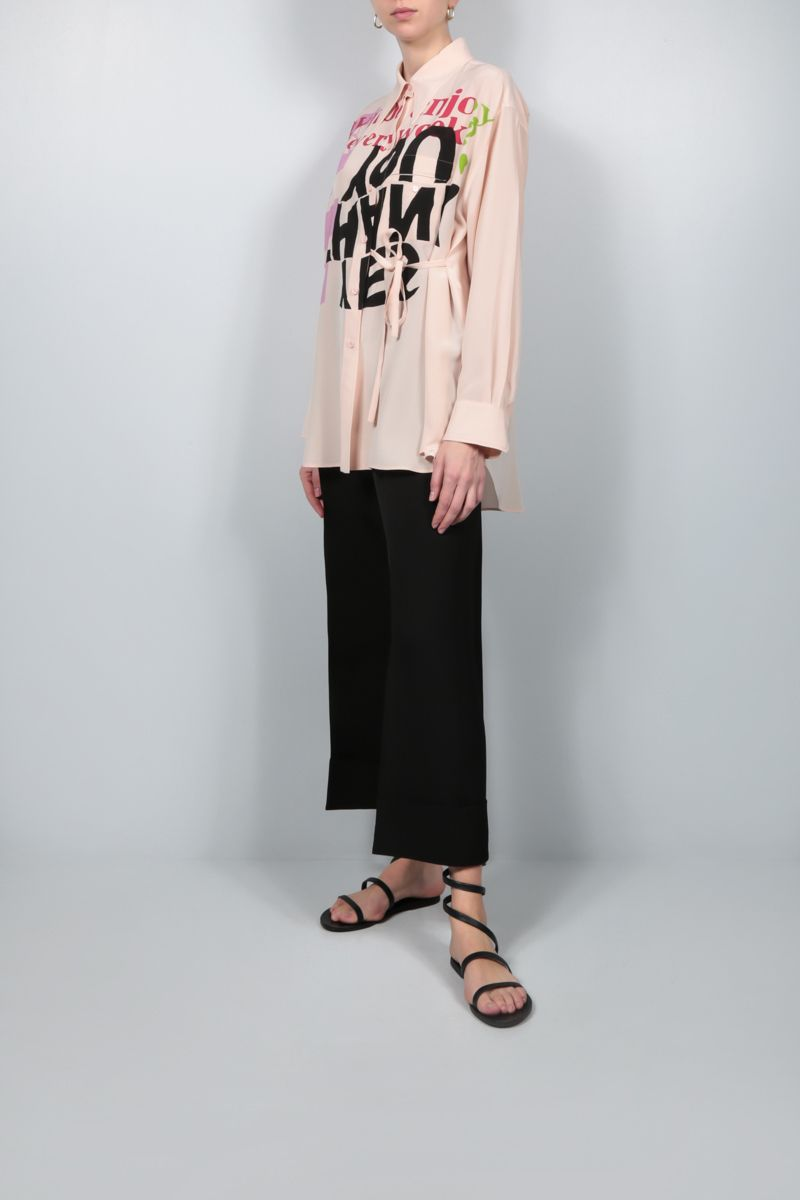 CHLOÈ: Corita Kent print crepe de chine oversize shirt Color Purple_2