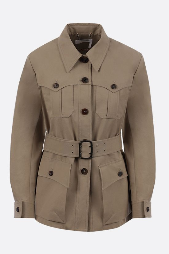CHLOÈ: belt-detailed stretch cotton field jacket Color Grey_1