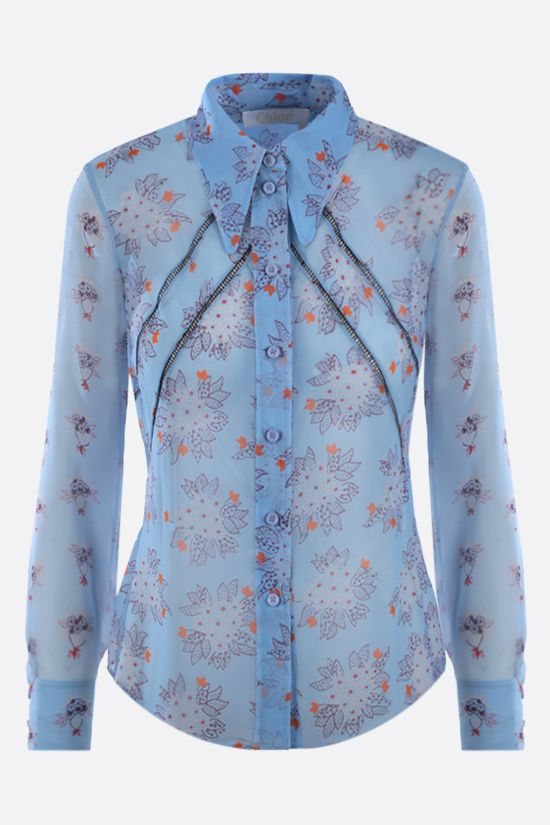 CHLOÈ: floral print silk georgette shirt Color Blue_1