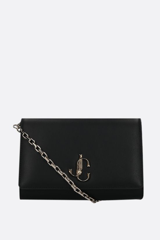 JIMMY CHOO: Varenne smooth leather chain clutch Color Black_1
