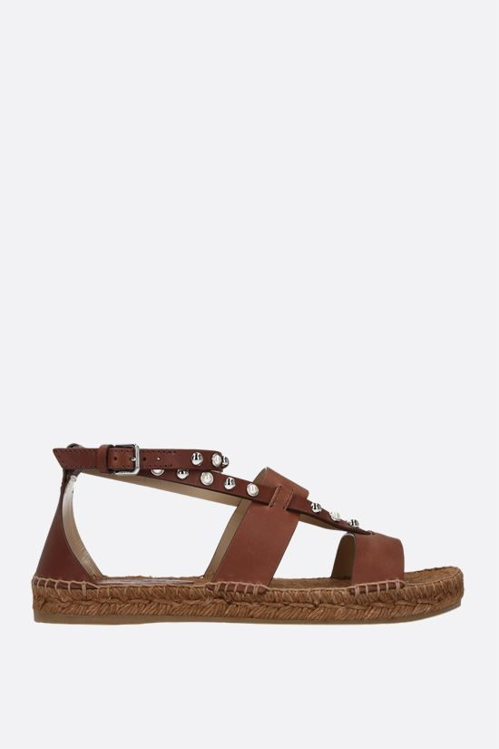 JIMMY CHOO: Denise smooth leather espadrille sandals Color Brown_1