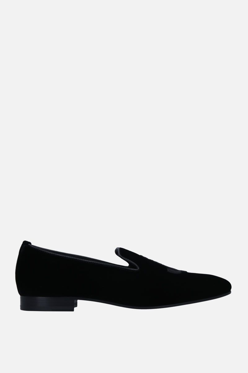 JIMMY CHOO: Sache velvet loafers Color Black_1
