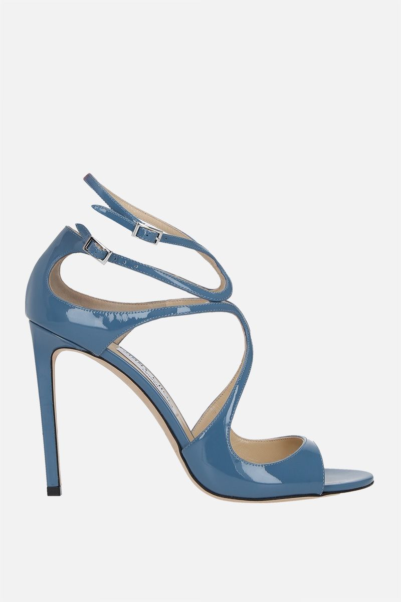 JIMMY CHOO: Lang patent leather sandals Color Blue_1