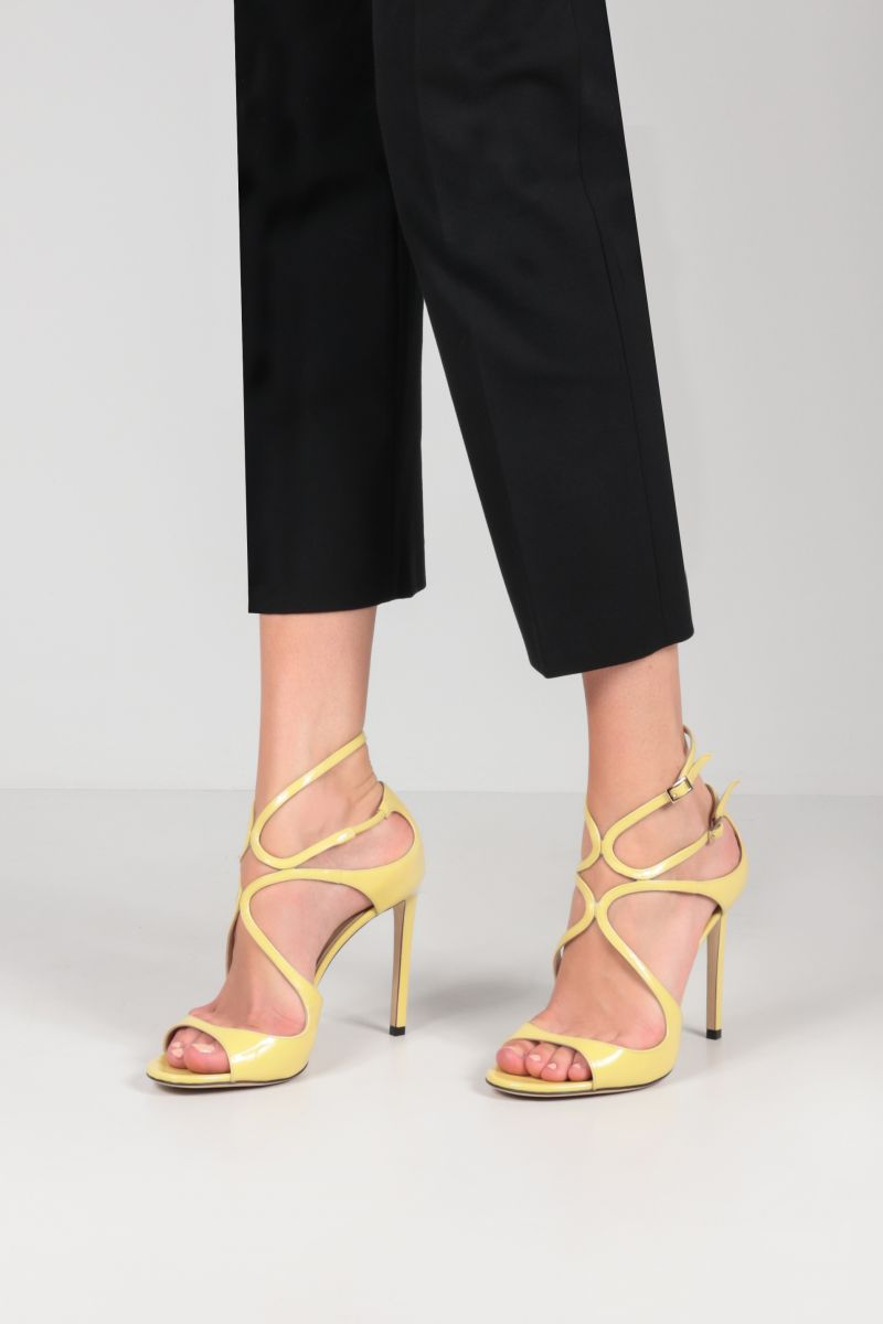 JIMMY CHOO: Lang patent leather sandals Color Yellow_2