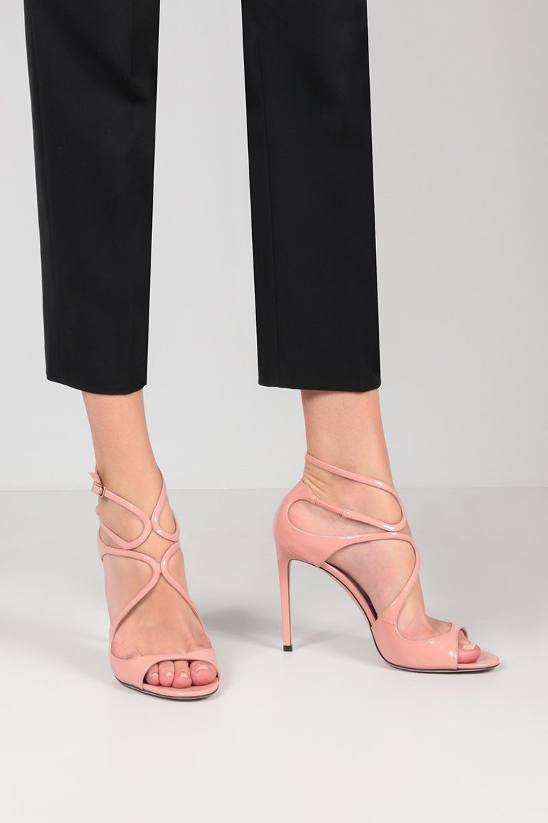 JIMMY CHOO: Lang patent leather sandals Color Pink_2