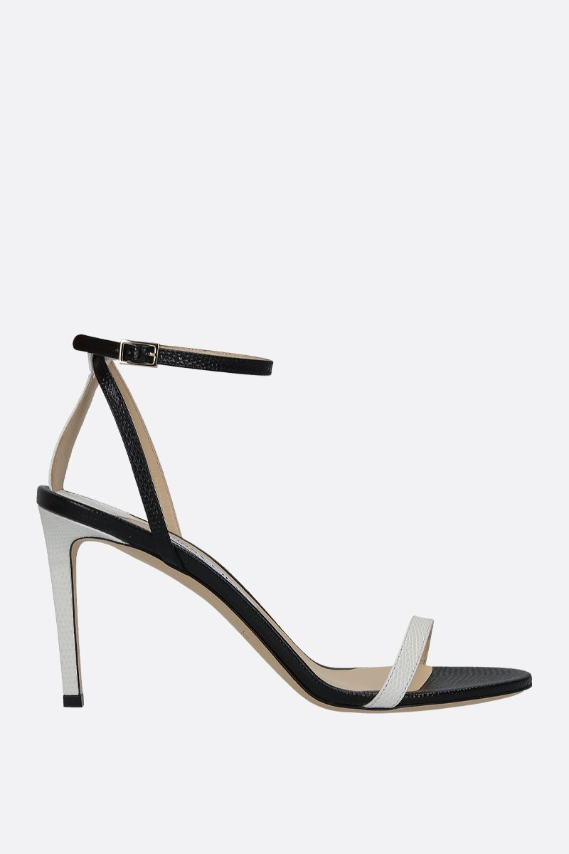JIMMY CHOO: Minny sandals in lizard embossed leather Color Grey_1