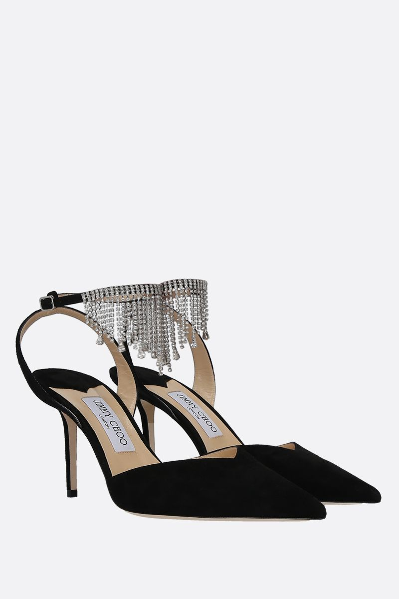 JIMMY CHOO: slingback Birtie in suede con cristalli Colore Nero_2