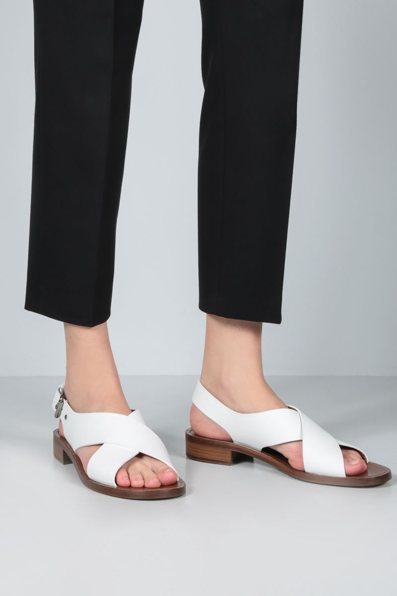CHURCH'S: Rhonda smooth leather flat sandals Color White_2