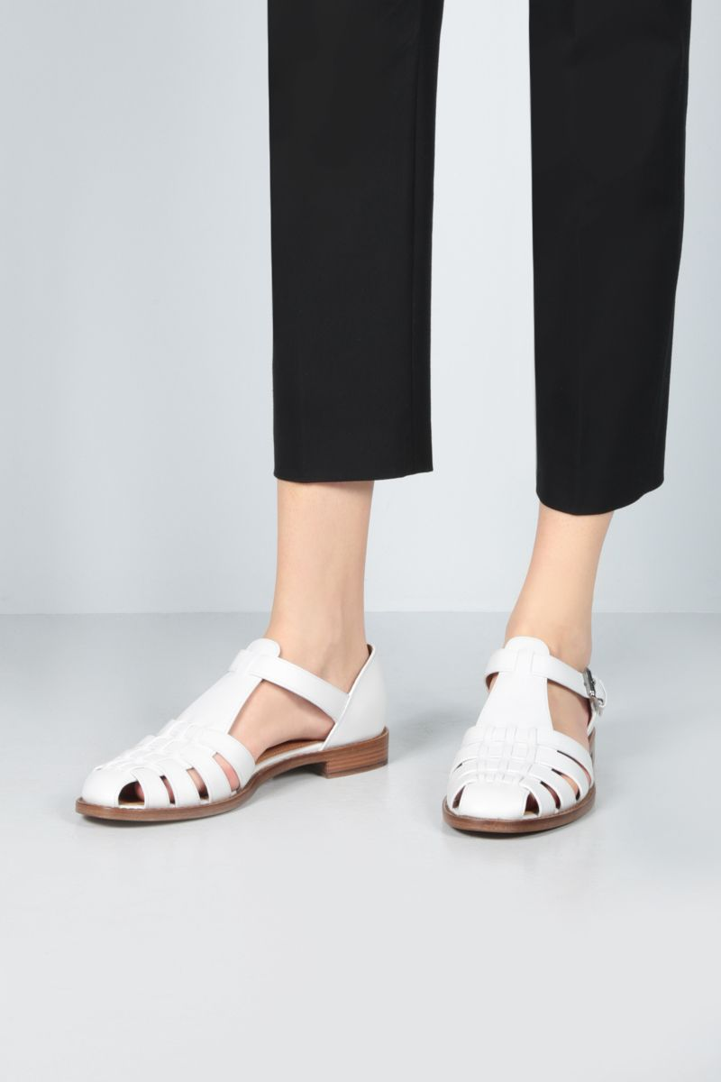 CHURCH'S: Kelsey flat sandals in Prestige leather Color White_2