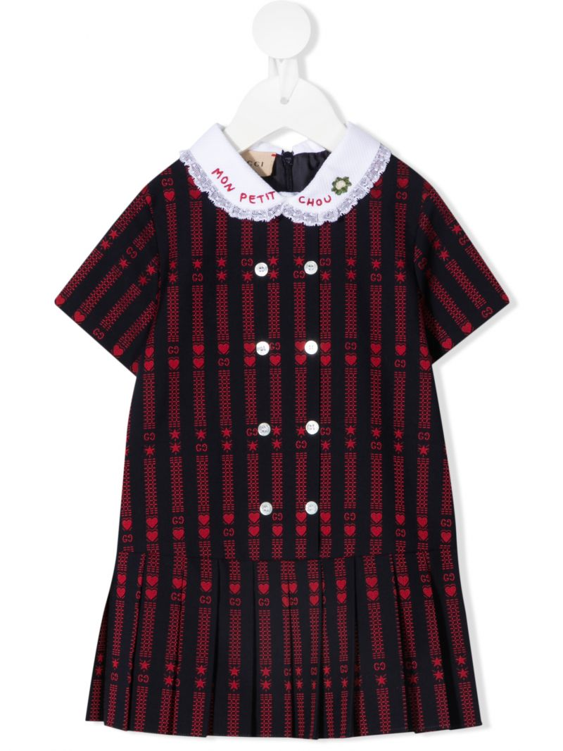 GUCCI CHILDREN: GG star cotton dress with embroidery Color Blue_1