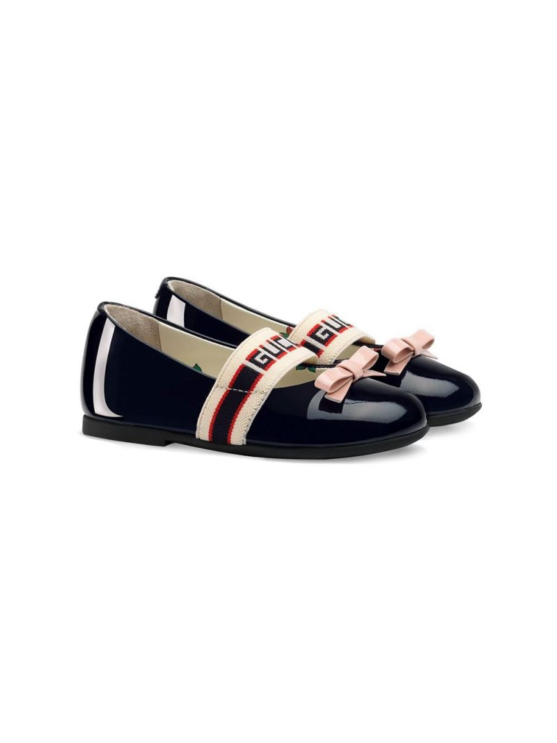 GUCCI CHILDREN: Gucci stripe-detailed patent leather ballerinas Color Blue_1