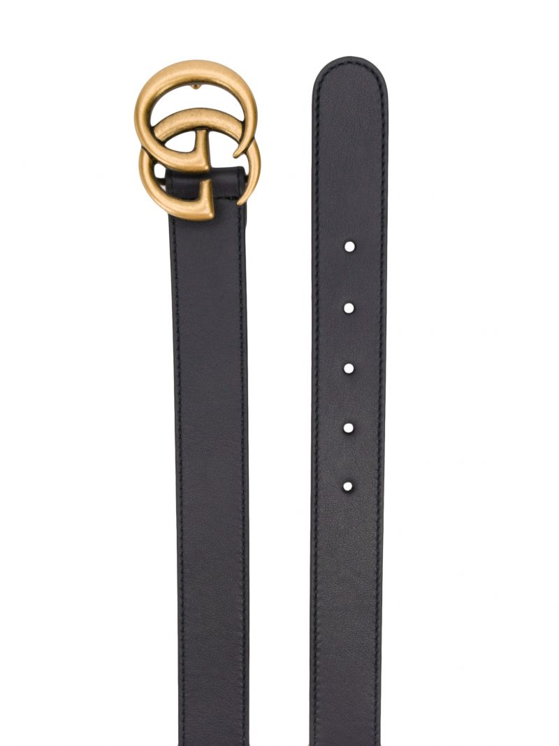 GUCCI CHILDREN: smooth leather belt with Double G buckle Color Blue_2