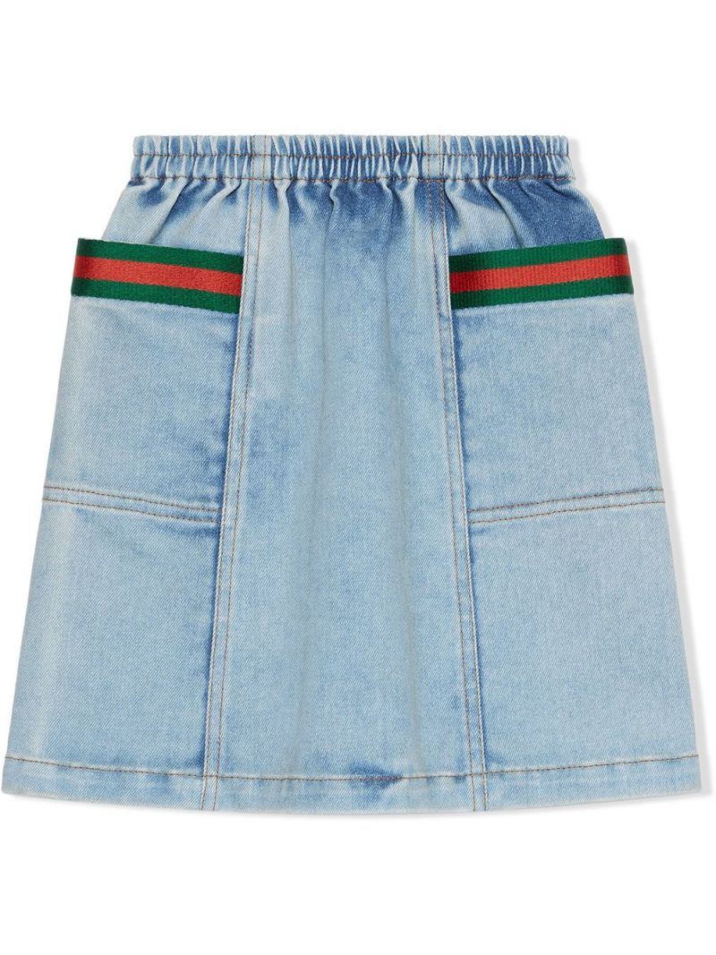GUCCI CHILDREN: Web-detailed stretch denim skirt Color Blue_1