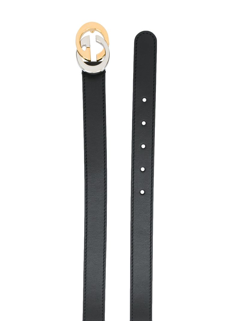 GUCCI CHILDREN: Interlocking G buckle-detailed smooth leather belt Color Black_2
