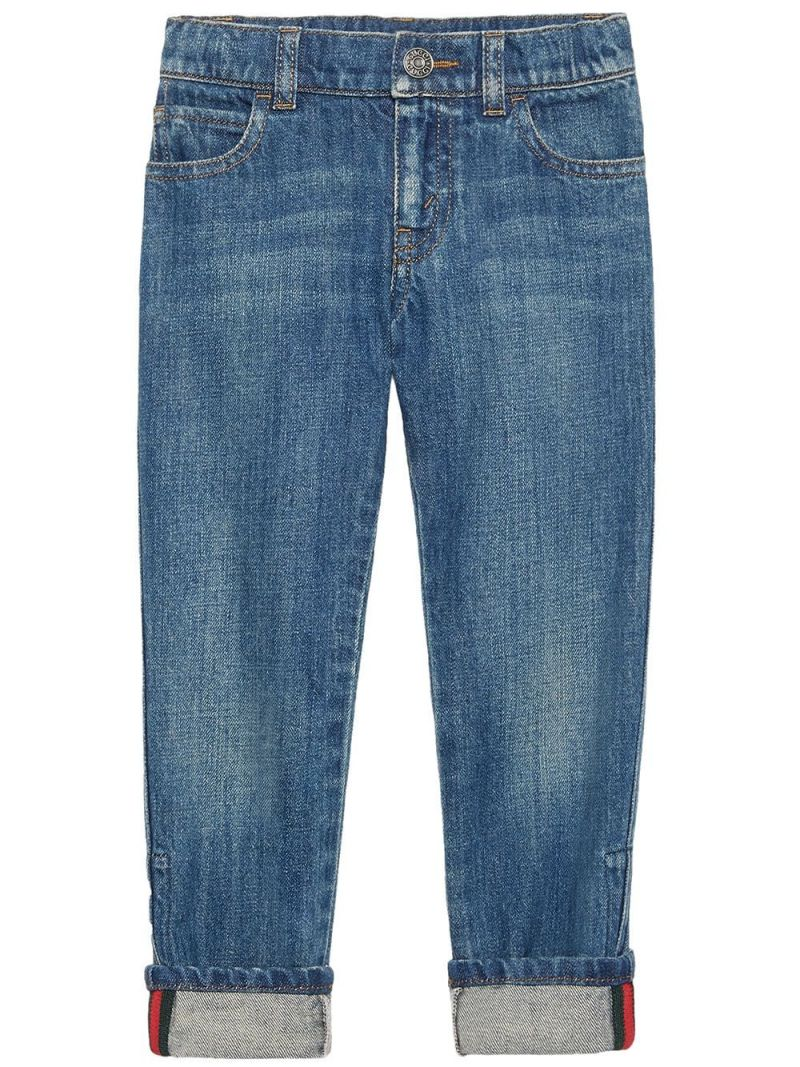 GUCCI CHILDREN: Web-detailed straight-fit jeans Color Multicolor_1