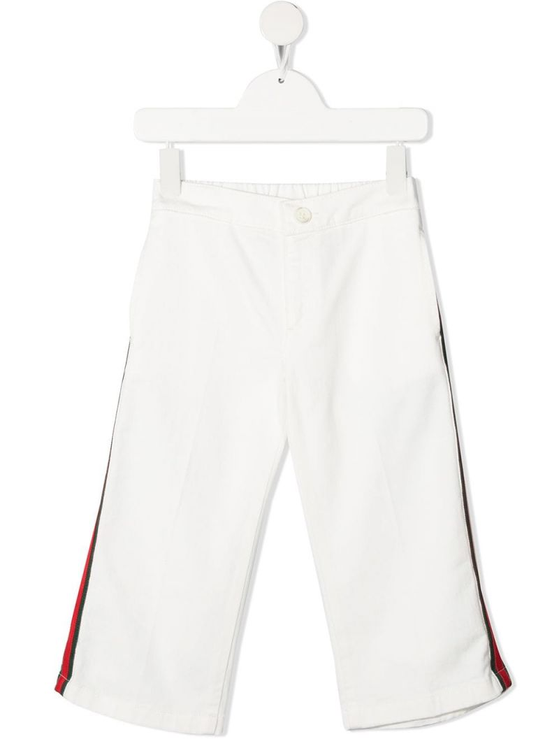 GUCCI CHILDREN: Web-detailed stretch cotton pants Color White_1
