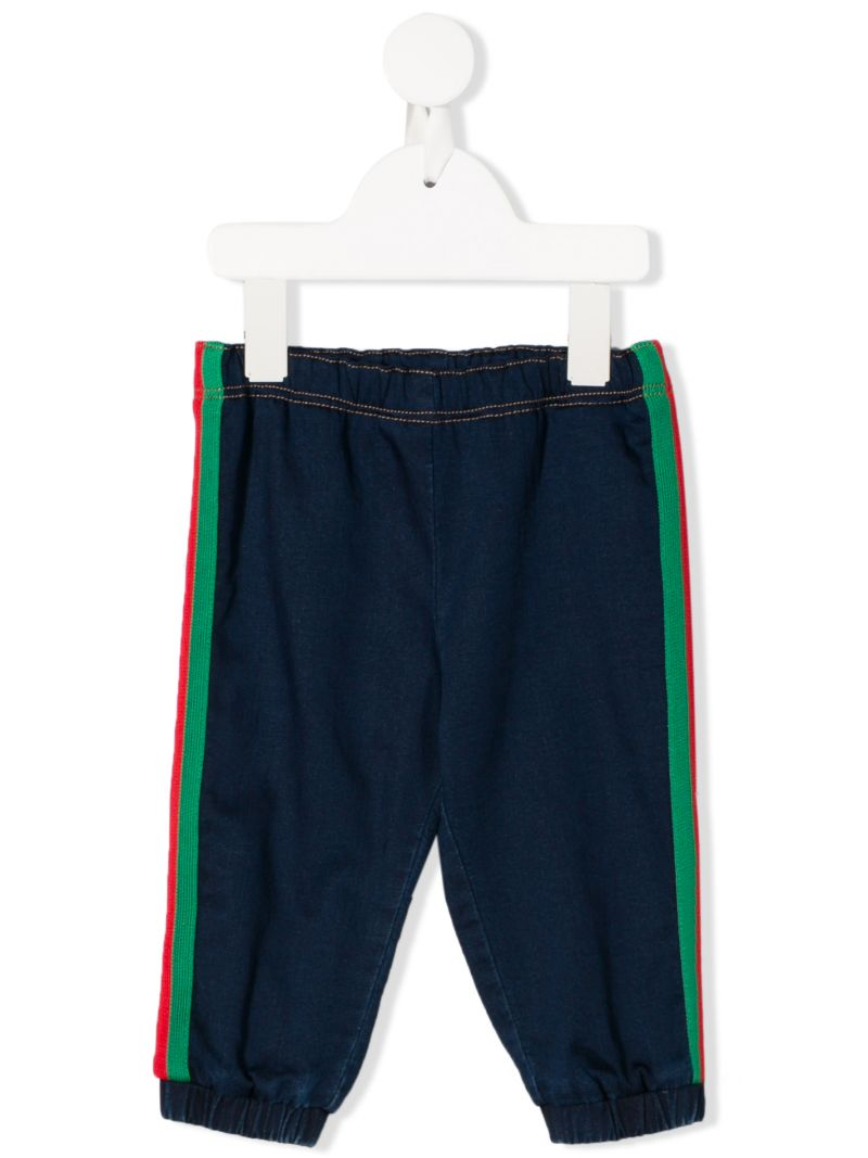 GUCCI CHILDREN: denim joggers with Web bands Color Blue_1