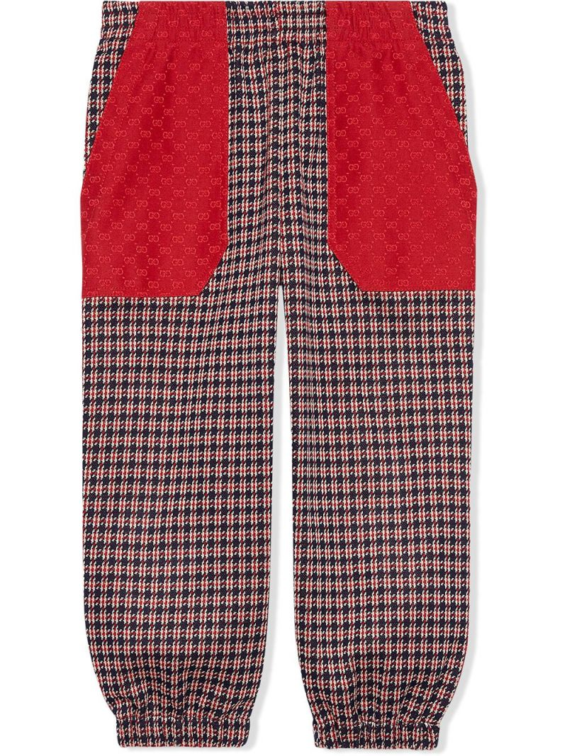 GUCCI CHILDREN: houndstooth-motif cotton joggers Color Blue_1
