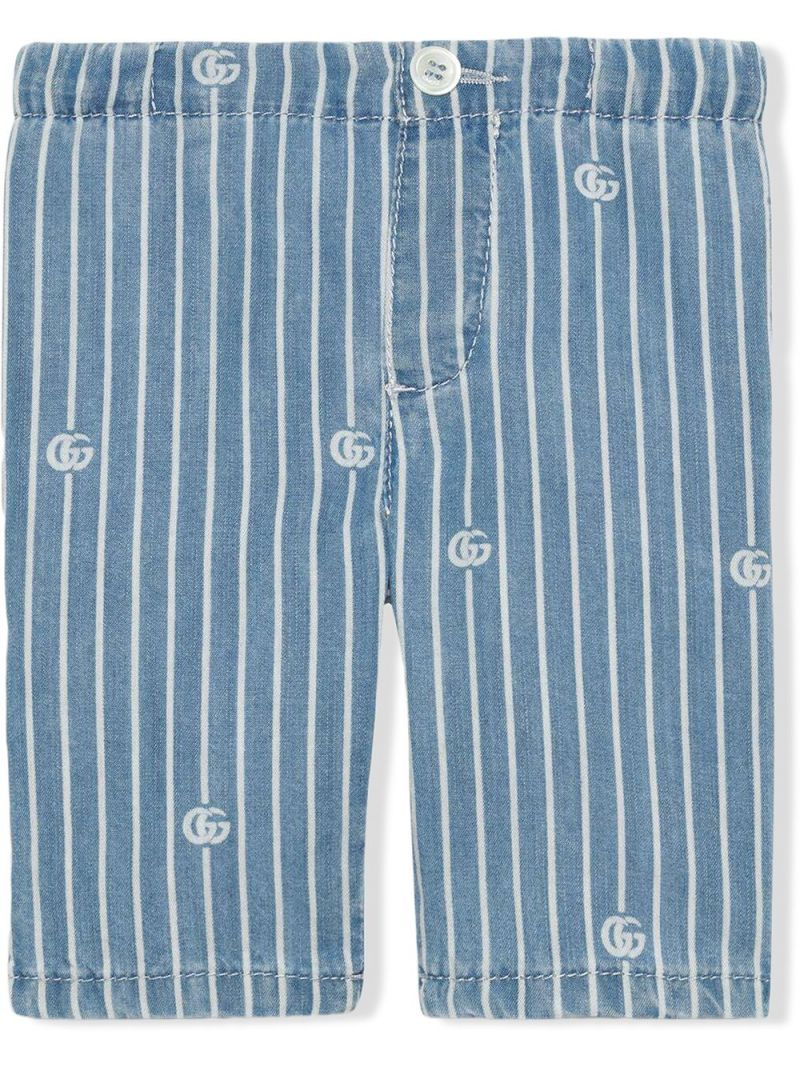 GUCCI CHILDREN: GG stripe lyocell shorts Color Blue_1