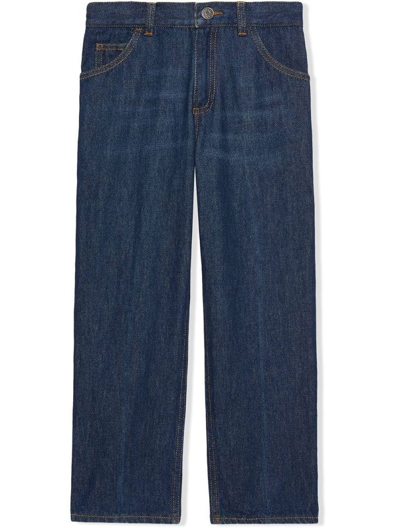 GUCCI CHILDREN: Freya Hartas embroidered jeans Color Blue_1