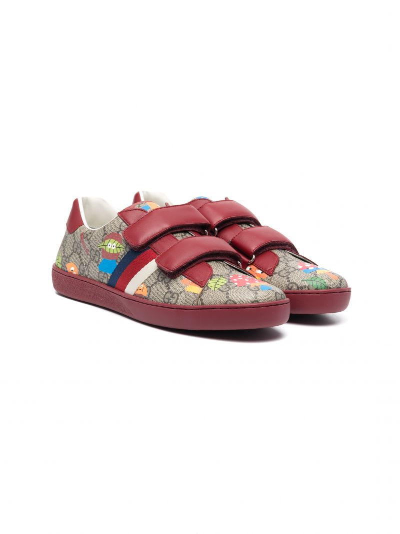 GUCCI CHILDREN: Woodland sneakers in GG Supreme canvas and smooth leather Color Neutral_1