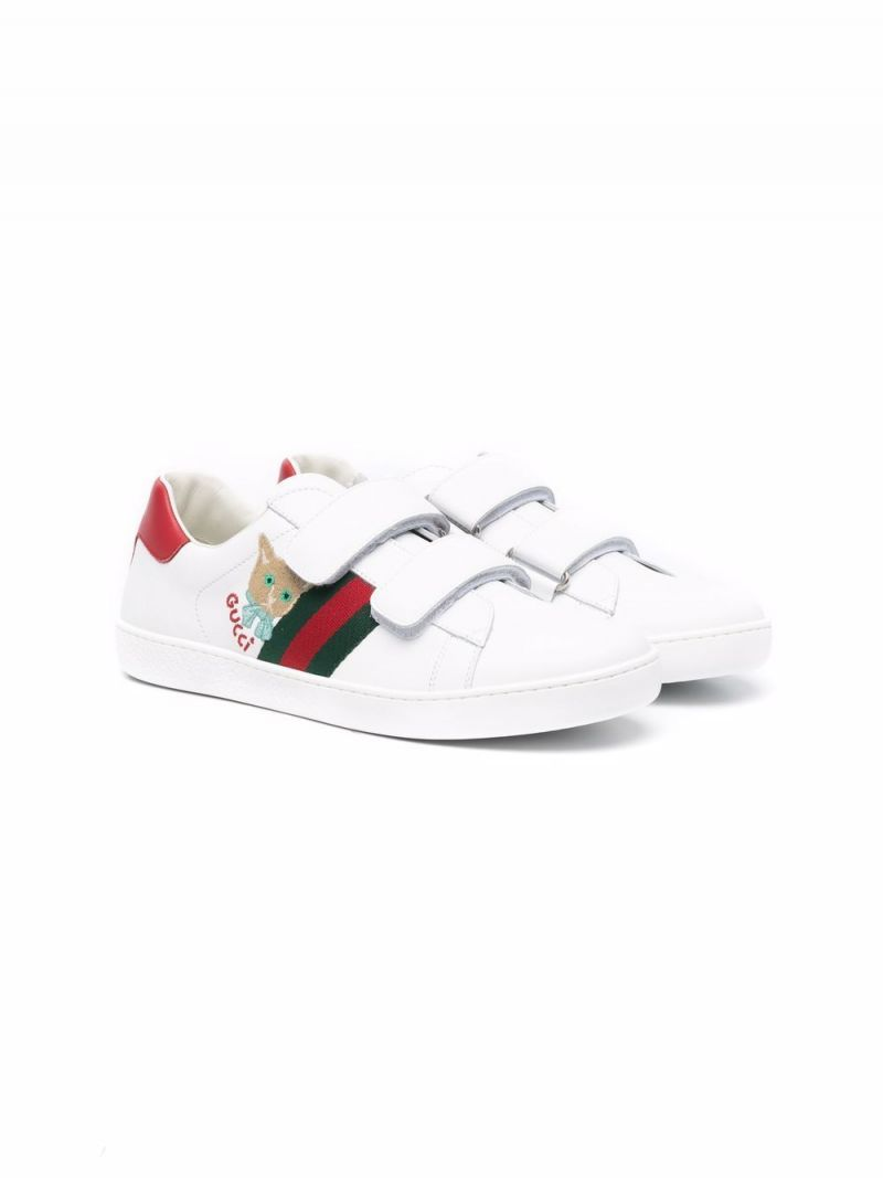 GUCCI CHILDREN: Ace smooth leather sneakers Color Green_1
