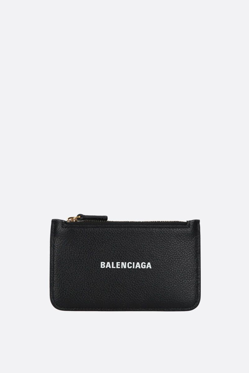 BALENCIAGA: Cash zipped card holder in grainy leather Color White_1