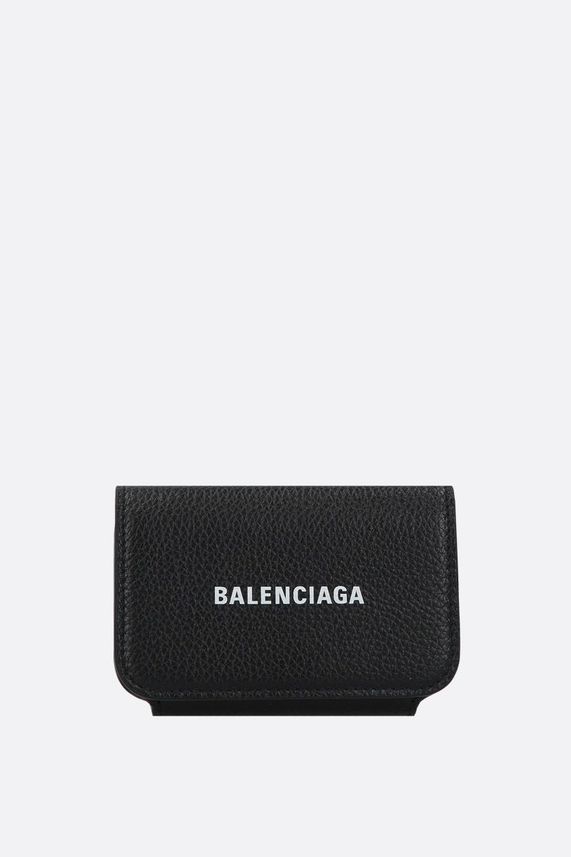 BALENCIAGA: porta carte Cash Accord in pelle martellata Colore Nero_1