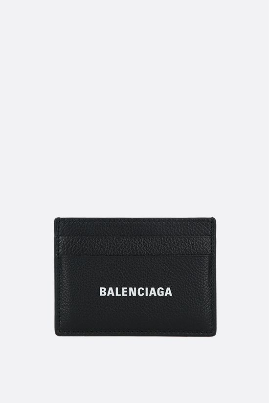 BALENCIAGA: Cash card case in grainy leather Color Black_1