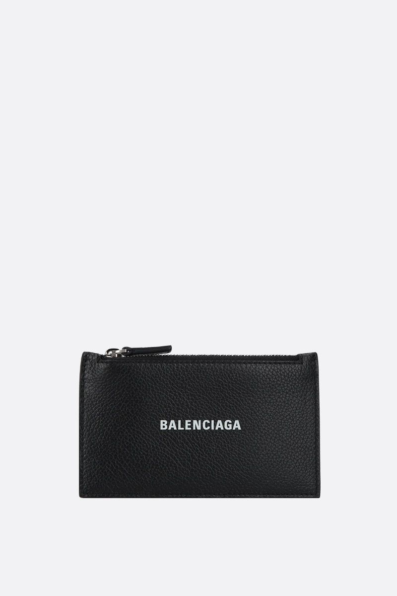 BALENCIAGA: Cash zipped card holder in grainy leather Color Black_1