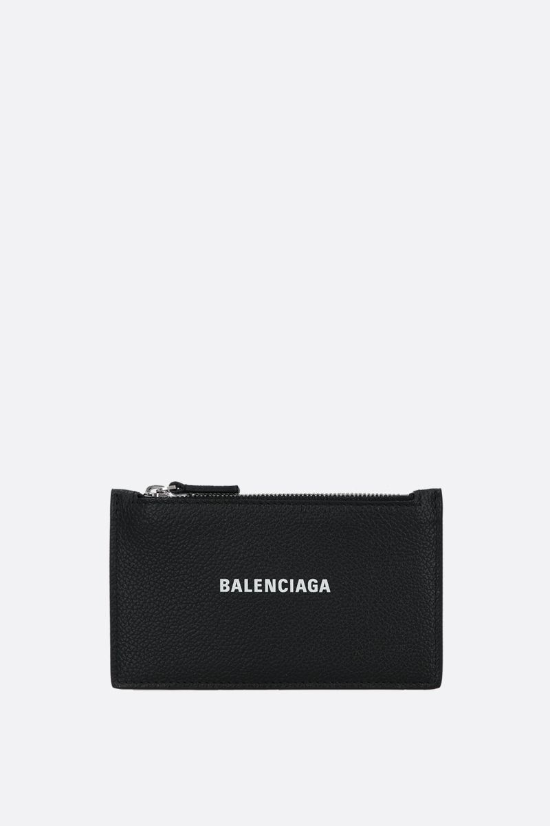 BALENCIAGA: Cash grainy leather zipped card holder Color Black_1
