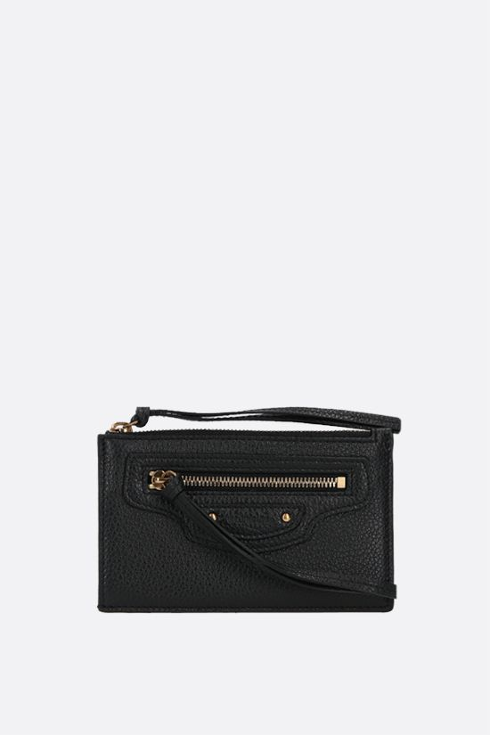 BALENCIAGA: Neo Classic grainy leather card case Color Black_1