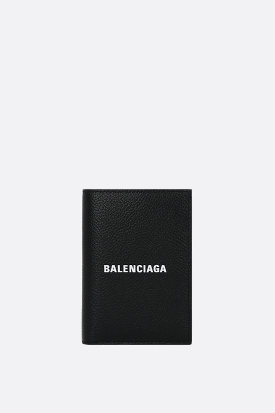 BALENCIAGA: Cash grainy leather vertical wallet Color Black_1