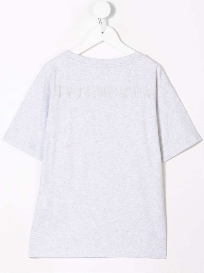 BALENCIAGA KIDS: logo embroidered cotton t-shirt Color Grey_2