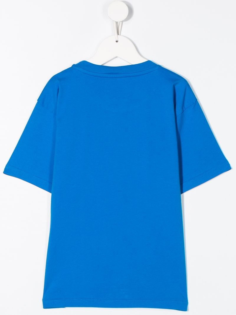 BALENCIAGA KIDS: logo print cotton t-shirt Color Blue_2