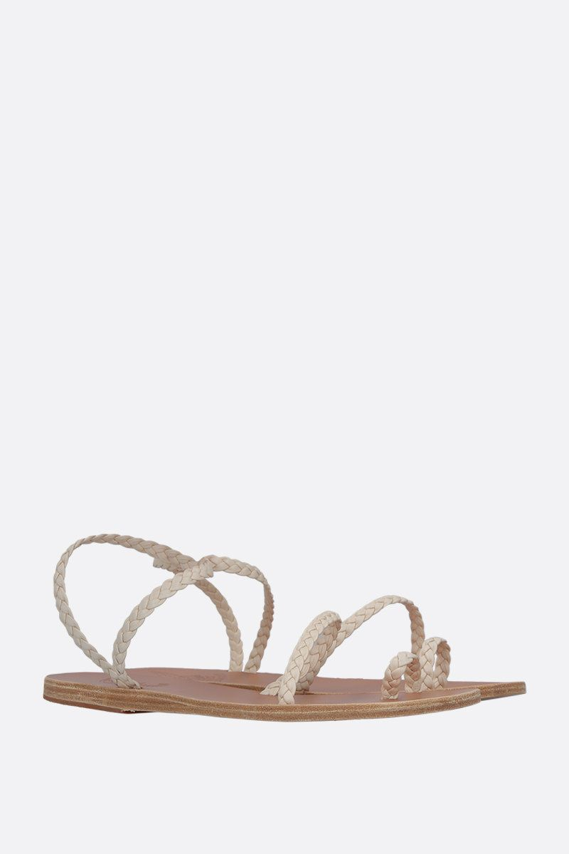 ANCIENT GREEK SANDALS: Eleftheria thong sandals in woven leather Color White_3