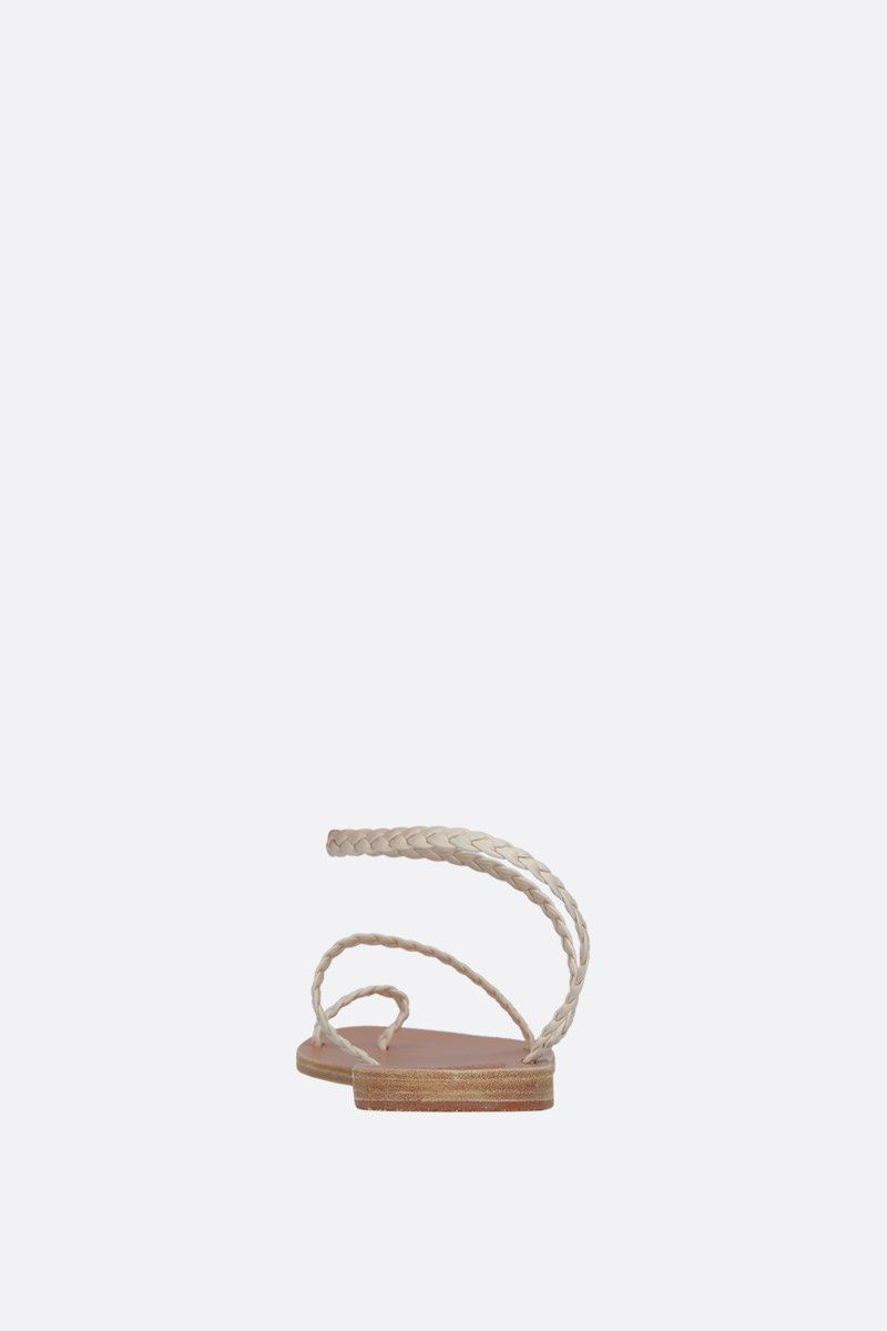 ANCIENT GREEK SANDALS: Eleftheria thong sandals in woven leather Color White_4