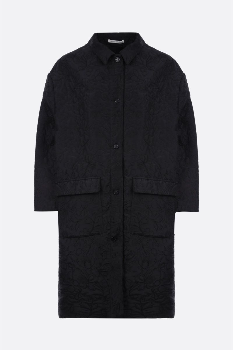 CECILIE BAHNSEN: Megan floral jacquard single-breasted coat Color Black_1